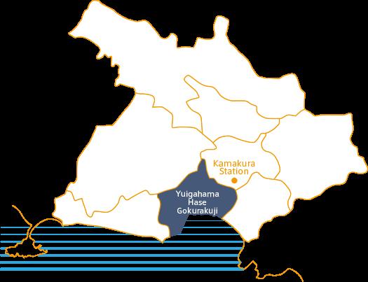 Map of Yuigahama/Hase/Gokurakuji